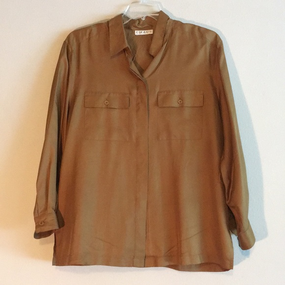 e68a9d9ec2e4f Chaus Silk Gold Flap Pocket Dressy Blouse Shirt